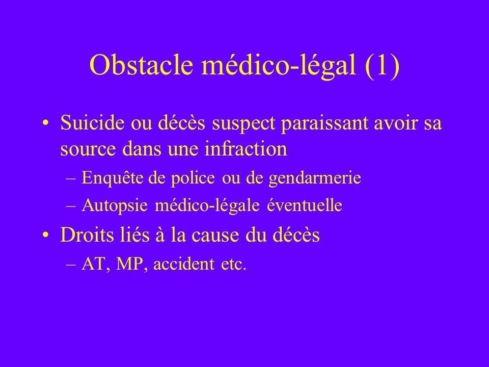 Obstacle médico-légal (1) Suicide ou décès suspect paraissant avoir sa source dans une infraction –Enquête de police ou de gendarmerie –Autopsie médic