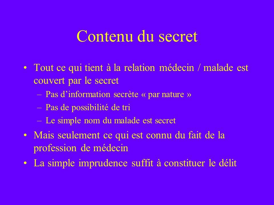 Contenu du secret Tout ce qui tient à la relation médecin / malade est couvert par le secret –Pas dinformation secrète « par nature » –Pas de possibil