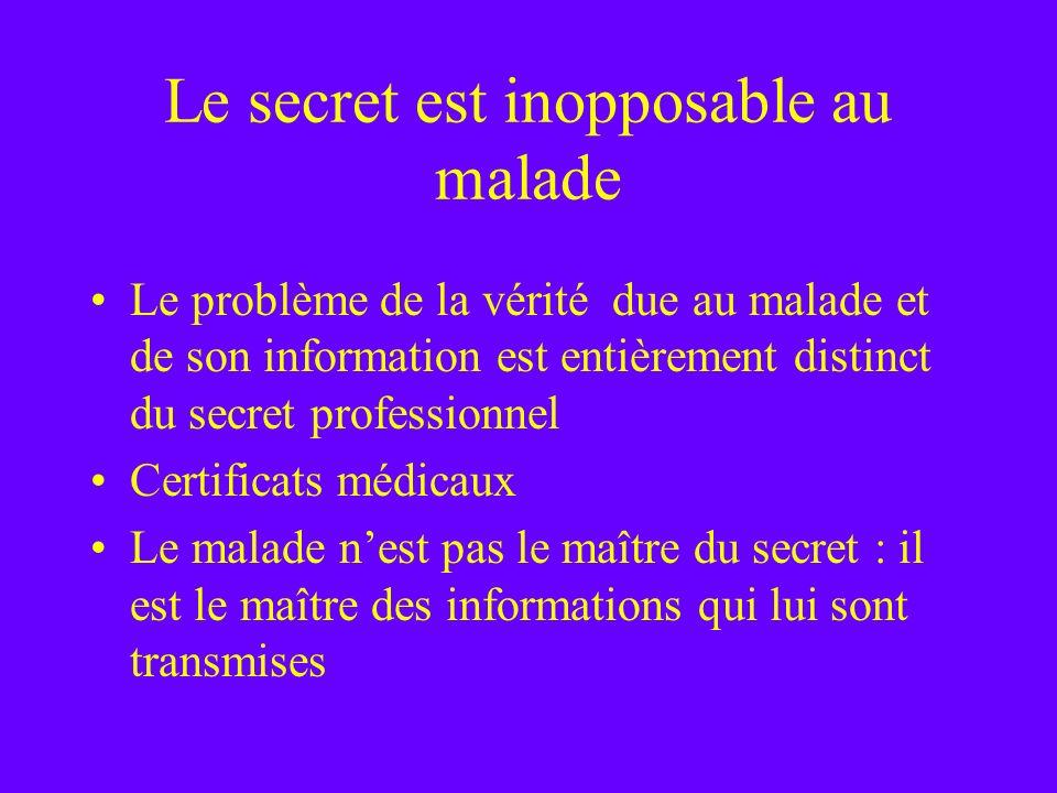 Le secret est inopposable au malade Le problème de la vérité due au malade et de son information est entièrement distinct du secret professionnel Cert