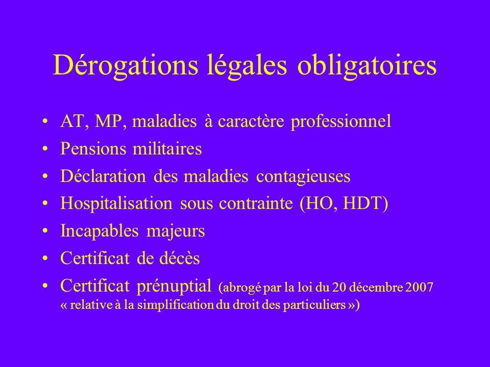Dérogations légales obligatoires AT, MP, maladies à caractère professionnel Pensions militaires Déclaration des maladies contagieuses Hospitalisation