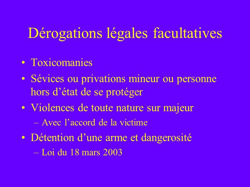 Dérogations légales facultatives Toxicomanies Sévices ou privations mineur ou personne hors détat de se protéger Violences de toute nature sur majeur
