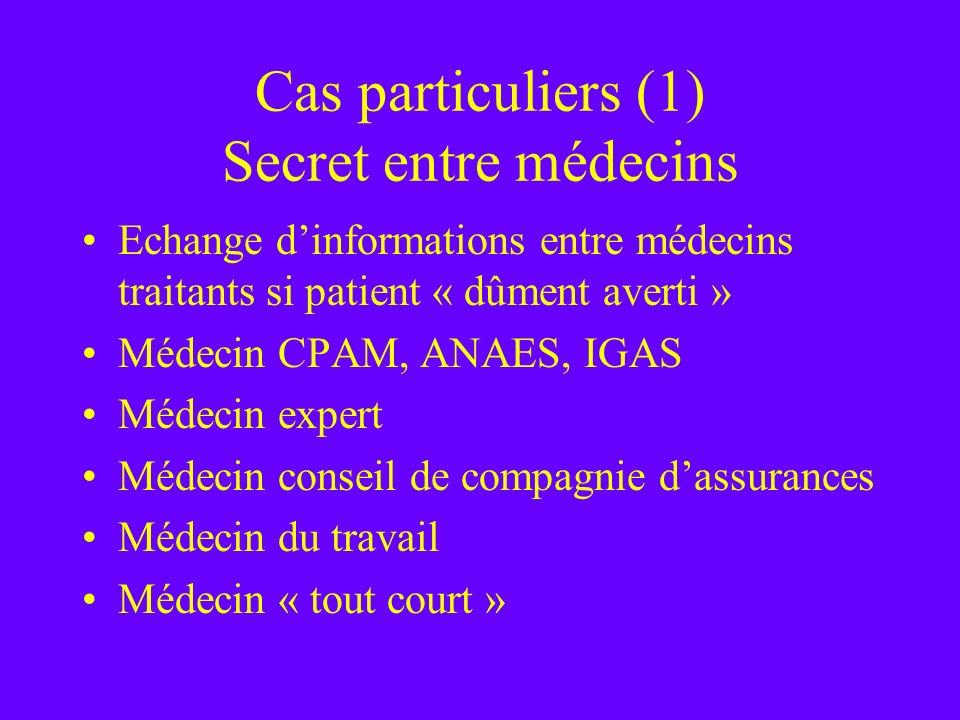 Cas particuliers (1) Secret entre médecins Echange dinformations entre médecins traitants si patient « dûment averti » Médecin CPAM, ANAES, IGAS Médec