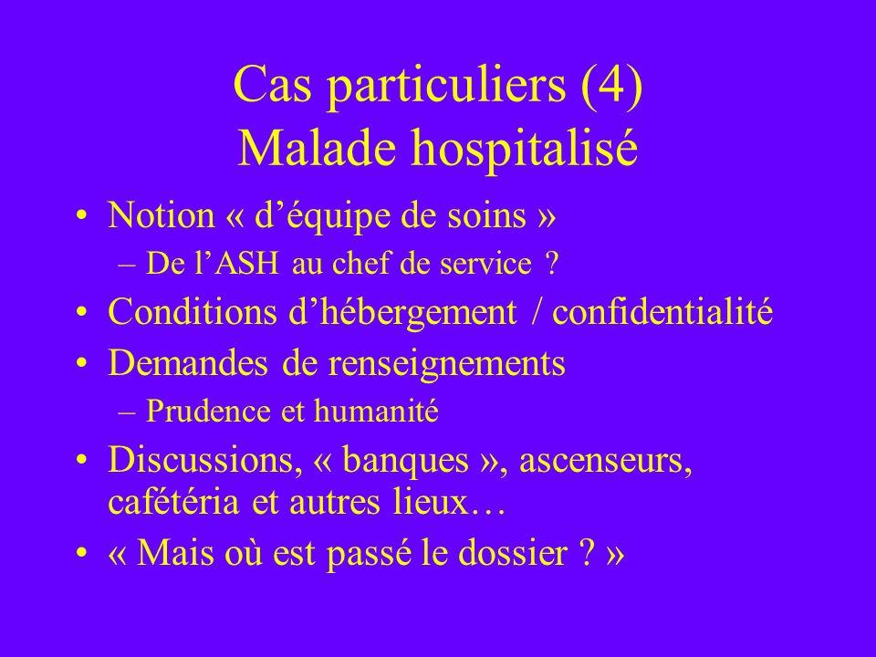 Cas particuliers (4) Malade hospitalisé Notion « déquipe de soins » –De lASH au chef de service ? Conditions dhébergement / confidentialité Demandes d