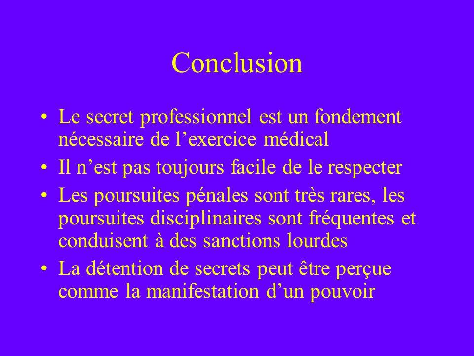 Conclusion Le secret professionnel est un fondement nécessaire de lexercice médical Il nest pas toujours facile de le respecter Les poursuites pénales