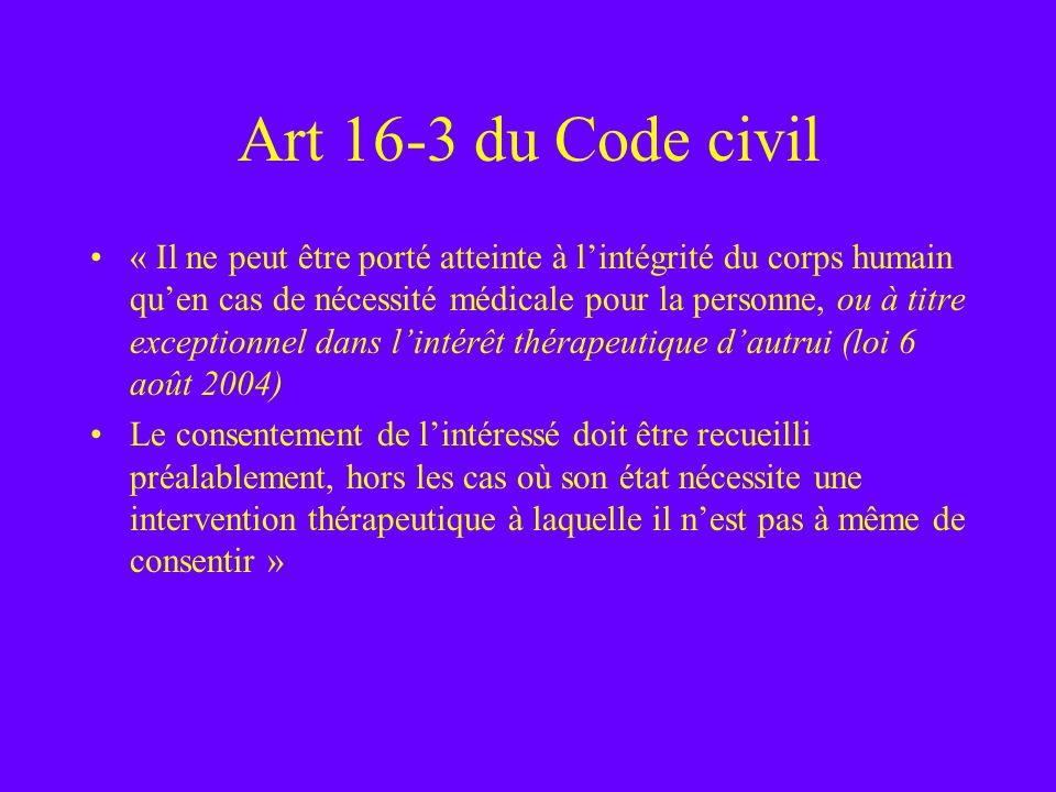 Art 16-3 du Code civil « Il ne peut être porté atteinte à lintégrité du corps humain quen cas de nécessité médicale pour la personne, ou à titre excep