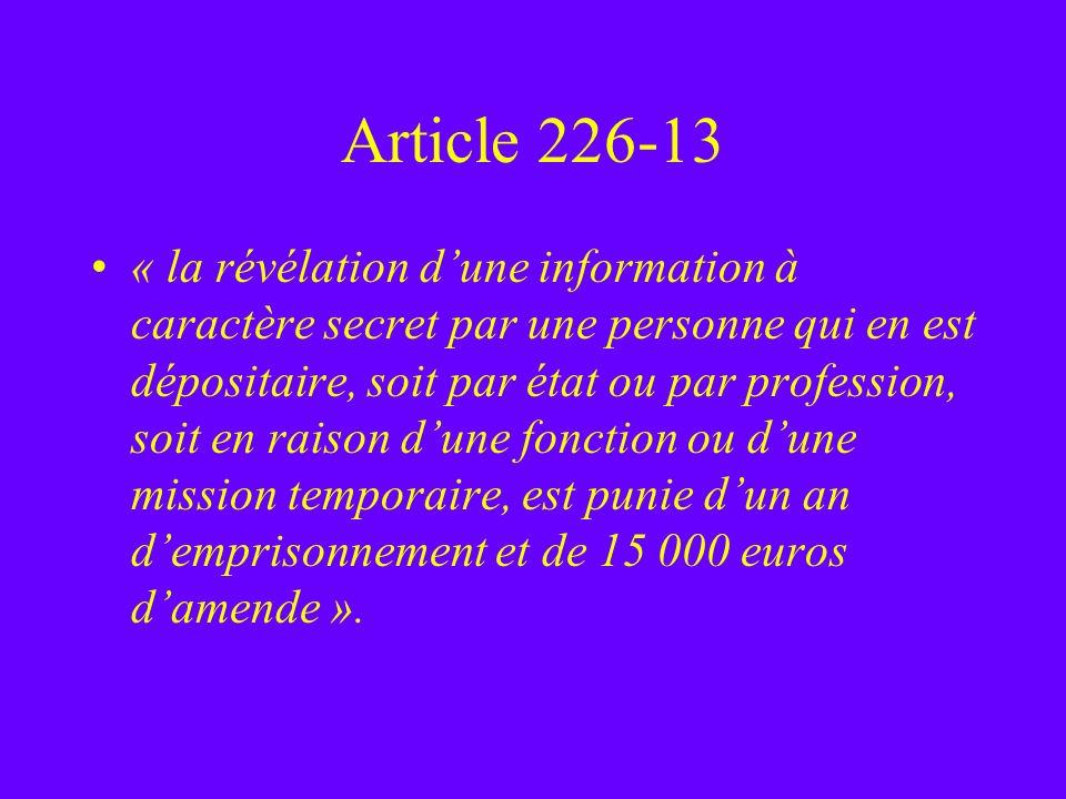 Article 226-13 « la révélation dune information à caractère secret par une personne qui en est dépositaire, soit par état ou par profession, soit en r