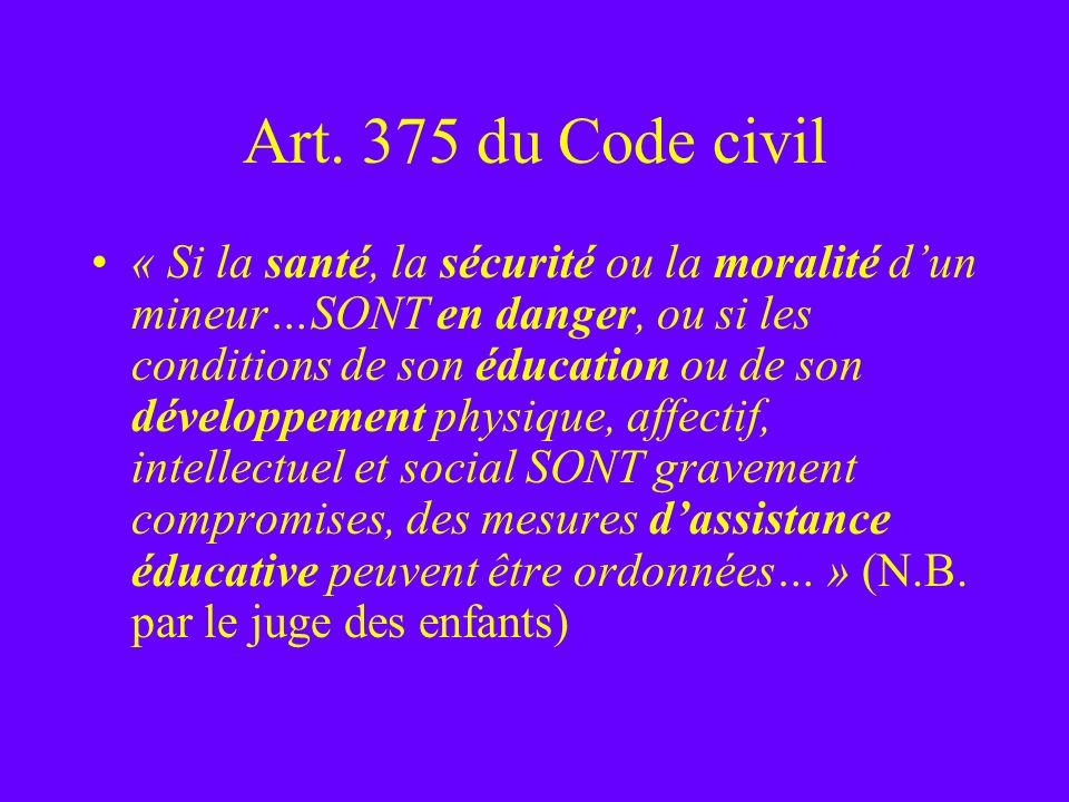 Art. 375 du Code civil « Si la santé, la sécurité ou la moralité dun mineur…SONT en danger, ou si les conditions de son éducation ou de son développem