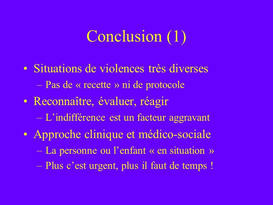 Conclusion (1) Situations de violences très diverses –Pas de « recette » ni de protocole Reconnaître, évaluer, réagir –Lindifférence est un facteur ag