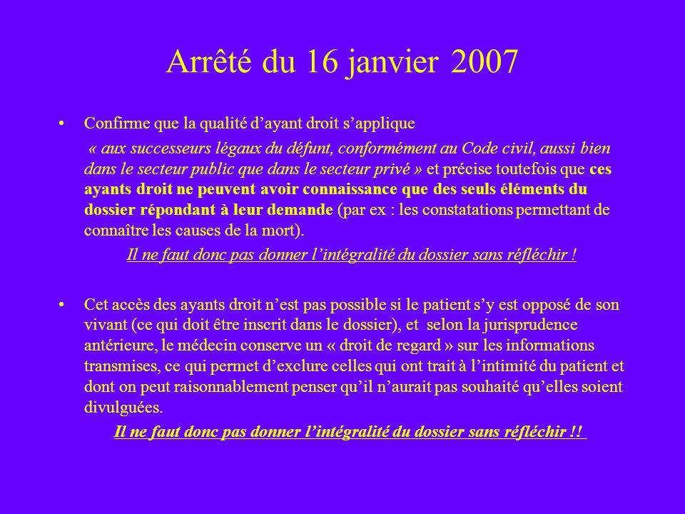 Arrêté du 16 janvier 2007 Confirme que la qualité dayant droit sapplique « aux successeurs légaux du défunt, conformément au Code civil, aussi bien da