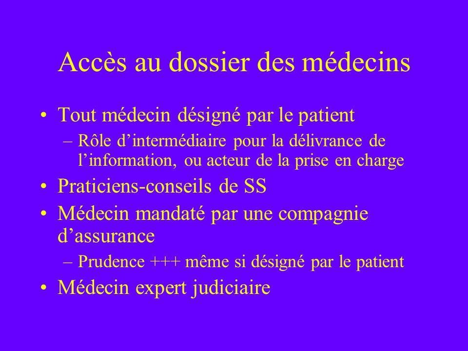 Accès au dossier des médecins Tout médecin désigné par le patient –Rôle dintermédiaire pour la délivrance de linformation, ou acteur de la prise en ch