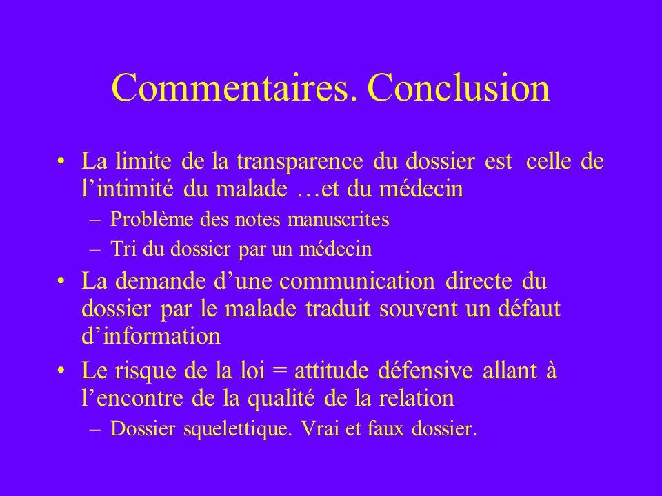 Commentaires. Conclusion La limite de la transparence du dossier est celle de lintimité du malade …et du médecin –Problème des notes manuscrites –Tri