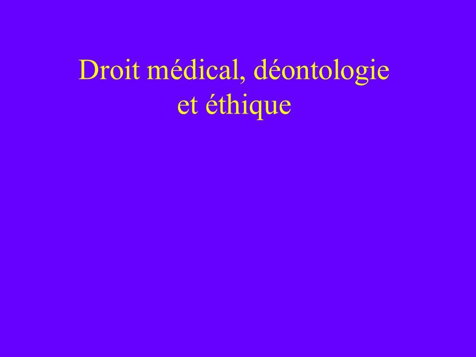 Droit médical, déontologie et éthique