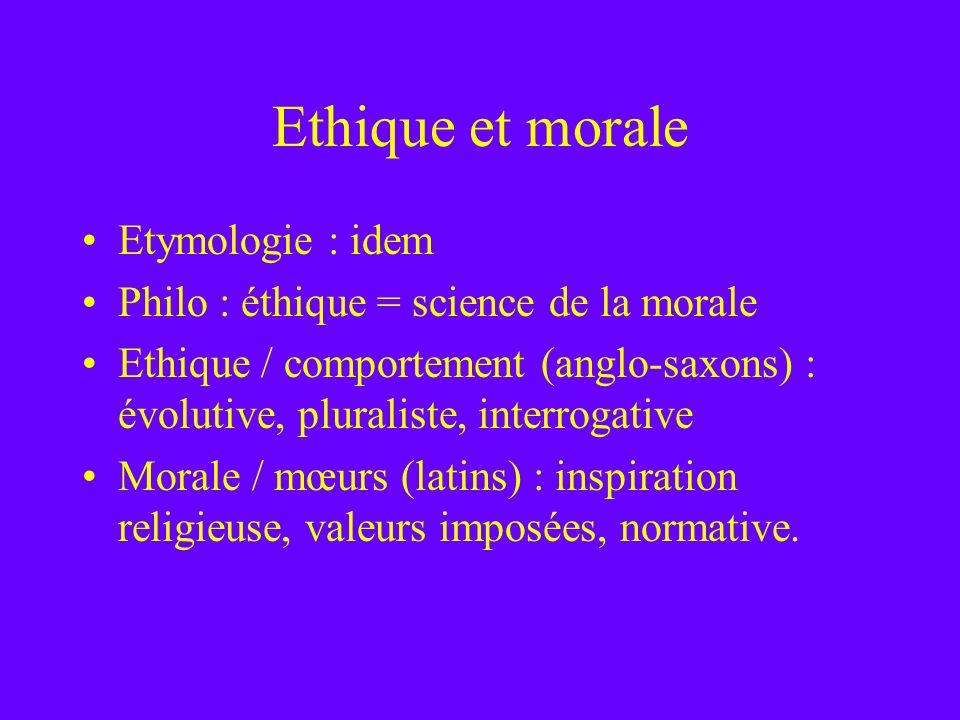 Ethique et morale Etymologie : idem Philo : éthique = science de la morale Ethique / comportement (anglo-saxons) : évolutive, pluraliste, interrogativ
