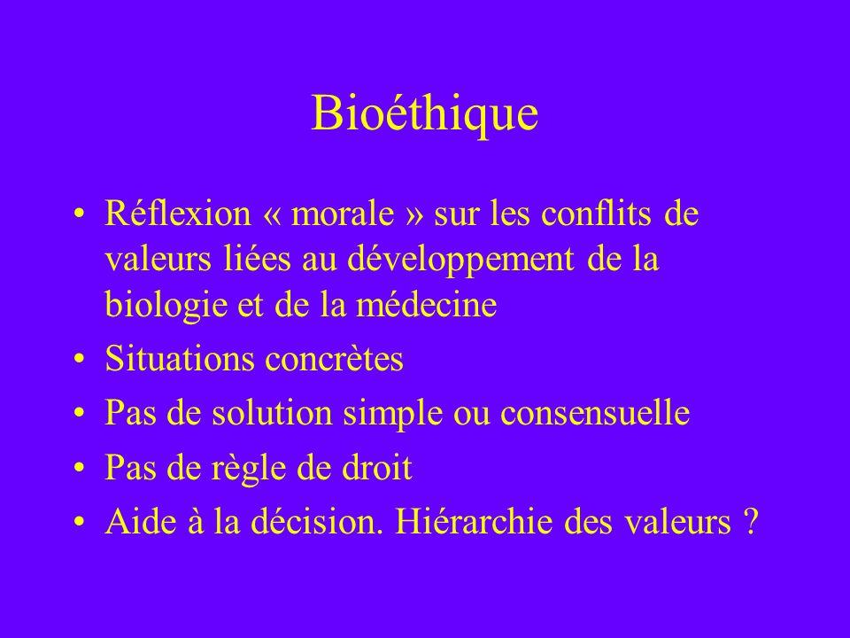 Bioéthique Réflexion « morale » sur les conflits de valeurs liées au développement de la biologie et de la médecine Situations concrètes Pas de soluti