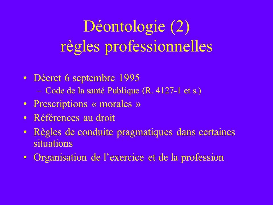Déontologie (2) règles professionnelles Décret 6 septembre 1995 –Code de la santé Publique (R. 4127-1 et s.) Prescriptions « morales » Références au d