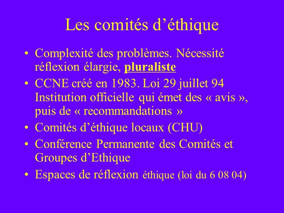 Les comités déthique Complexité des problèmes. Nécessité réflexion élargie, pluraliste CCNE créé en 1983. Loi 29 juillet 94 Institution officielle qui