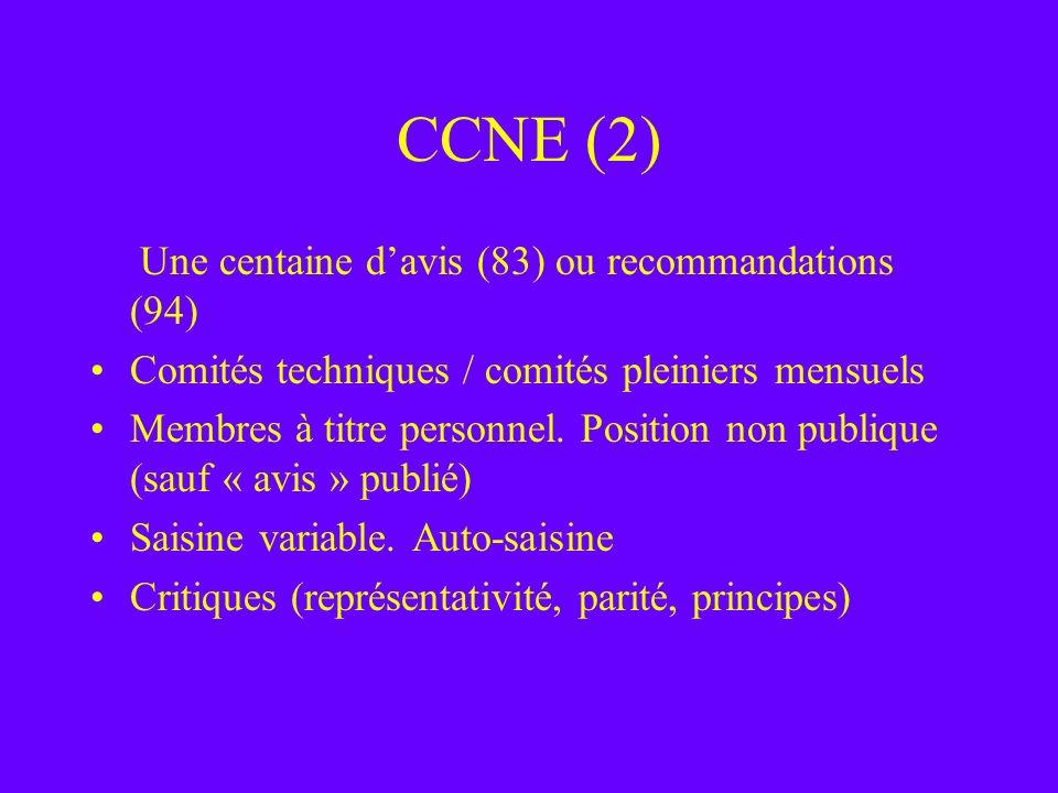 CCNE (2) Une centaine davis (83) ou recommandations (94) Comités techniques / comités pleiniers mensuels Membres à titre personnel. Position non publi