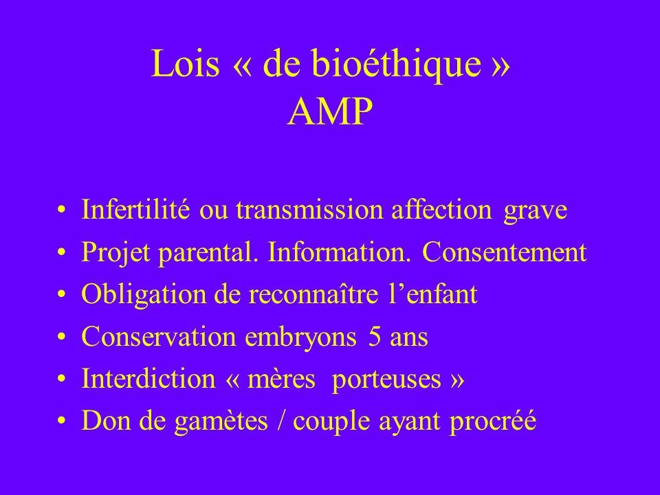 Lois « de bioéthique » AMP Infertilité ou transmission affection grave Projet parental. Information. Consentement Obligation de reconnaître lenfant Co