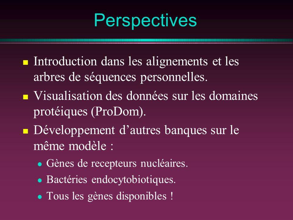 Perspectives Introduction dans les alignements et les arbres de séquences personnelles. Visualisation des données sur les domaines protéiques (ProDom)