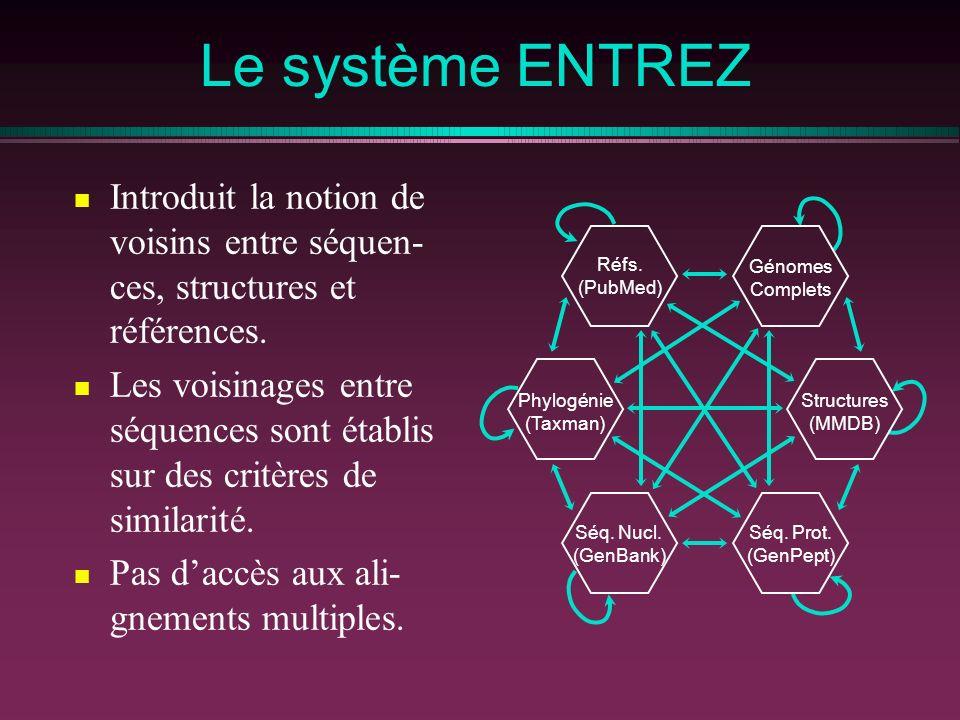 Le système ENTREZ Introduit la notion de voisins entre séquen- ces, structures et références. Les voisinages entre séquences sont établis sur des crit