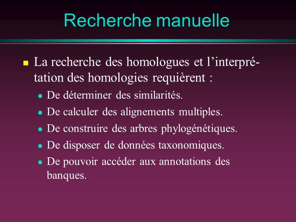 Recherche manuelle La recherche des homologues et linterpré- tation des homologies requièrent : De déterminer des similarités. De calculer des alignem