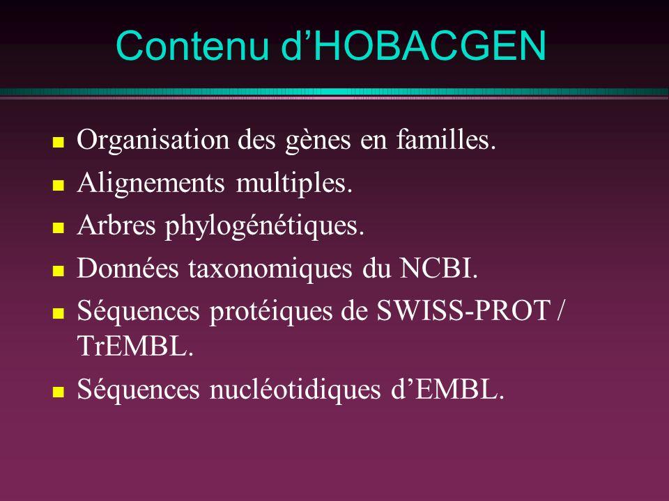 Contenu dHOBACGEN Organisation des gènes en familles. Alignements multiples. Arbres phylogénétiques. Données taxonomiques du NCBI. Séquences protéique