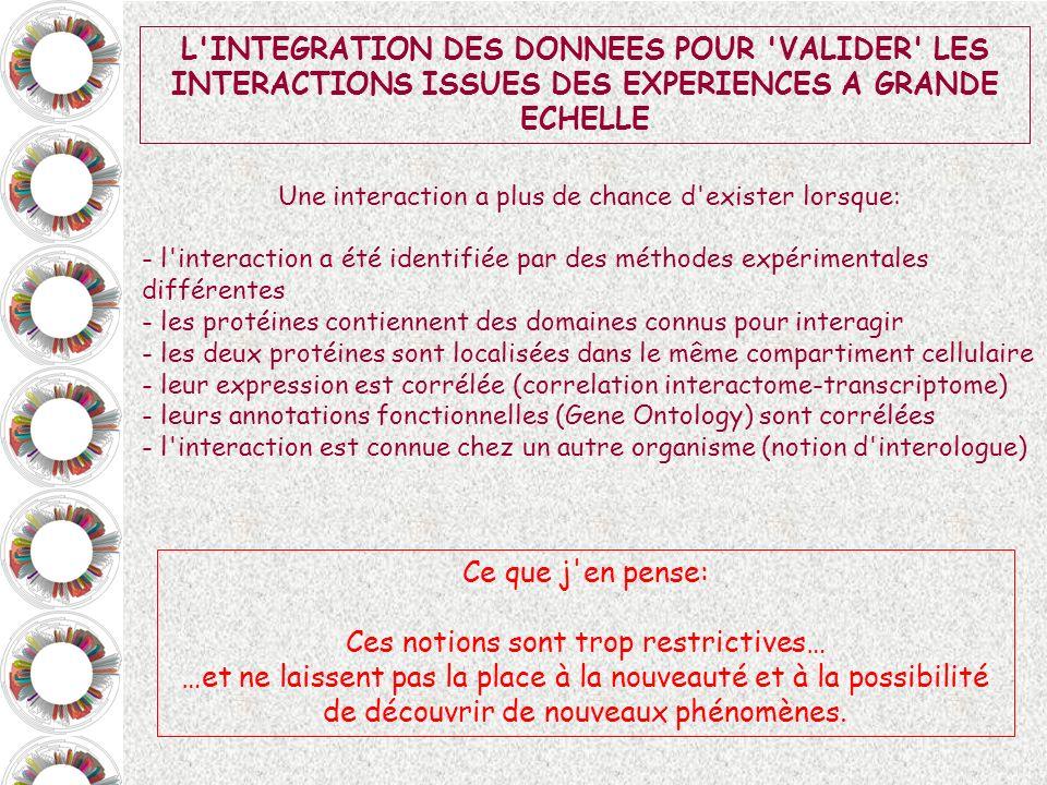 L'INTEGRATION DES DONNEES POUR 'VALIDER' LES INTERACTIONS ISSUES DES EXPERIENCES A GRANDE ECHELLE Une interaction a plus de chance d'exister lorsque: