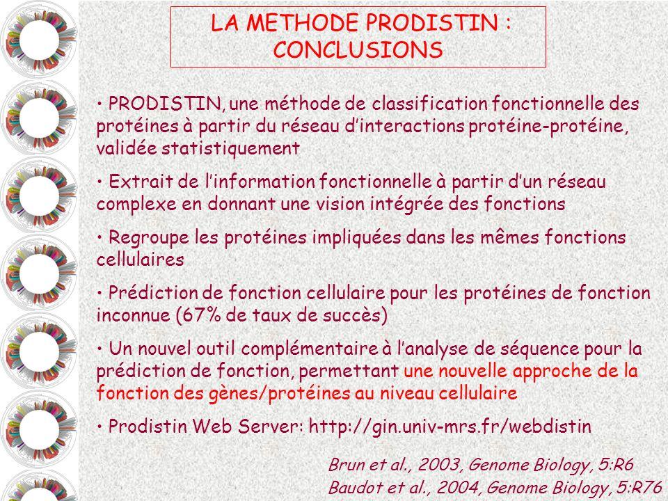 PRODISTIN, une méthode de classification fonctionnelle des protéines à partir du réseau dinteractions protéine-protéine, validée statistiquement Extra