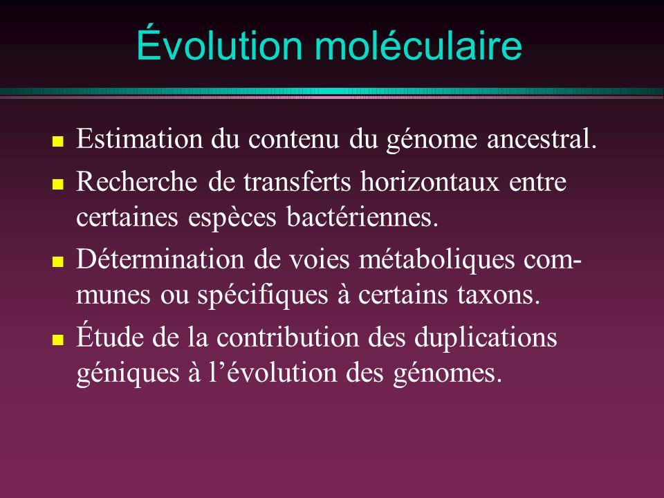 Évolution moléculaire Estimation du contenu du génome ancestral. Recherche de transferts horizontaux entre certaines espèces bactériennes. Déterminati