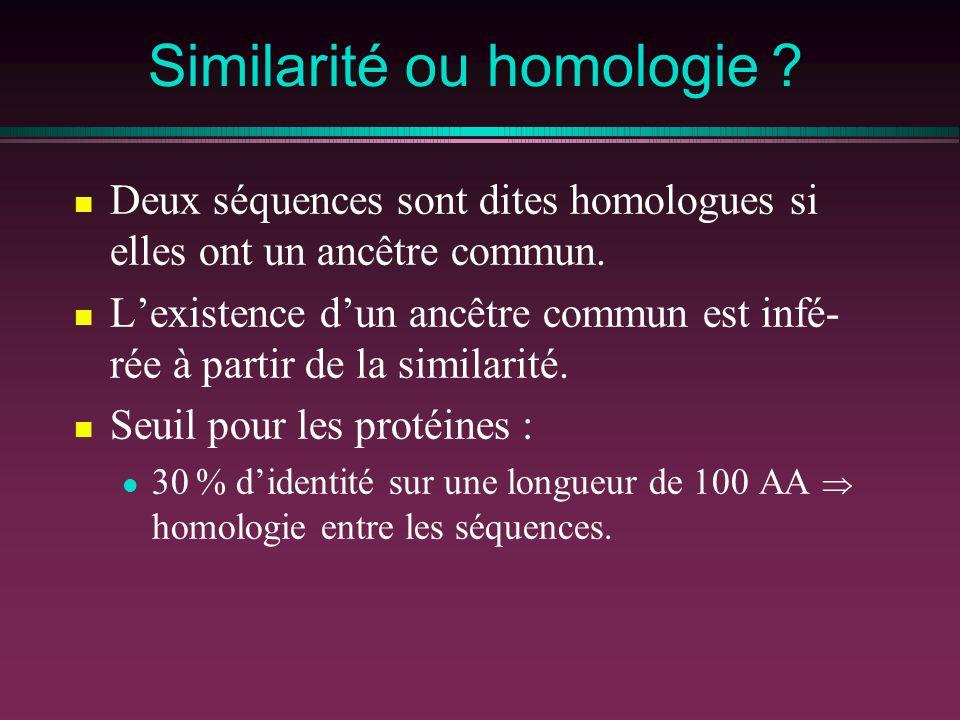 Similarité ou homologie ? Deux séquences sont dites homologues si elles ont un ancêtre commun. Lexistence dun ancêtre commun est infé- rée à partir de