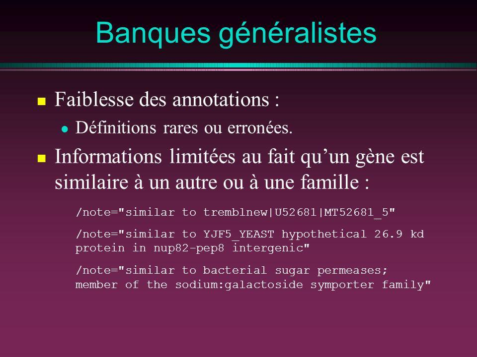 Banques généralistes Faiblesse des annotations : Définitions rares ou erronées. Informations limitées au fait quun gène est similaire à un autre ou à