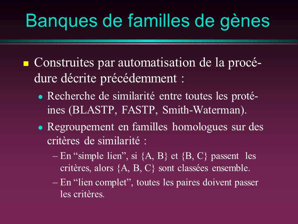 Banques de familles de gènes Construites par automatisation de la procé- dure décrite précédemment : Recherche de similarité entre toutes les proté- ines (BLASTP, FASTP, Smith-Waterman).