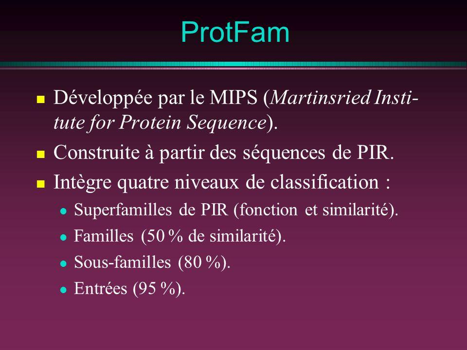 ProtFam Développée par le MIPS (Martinsried Insti- tute for Protein Sequence). Construite à partir des séquences de PIR. Intègre quatre niveaux de cla