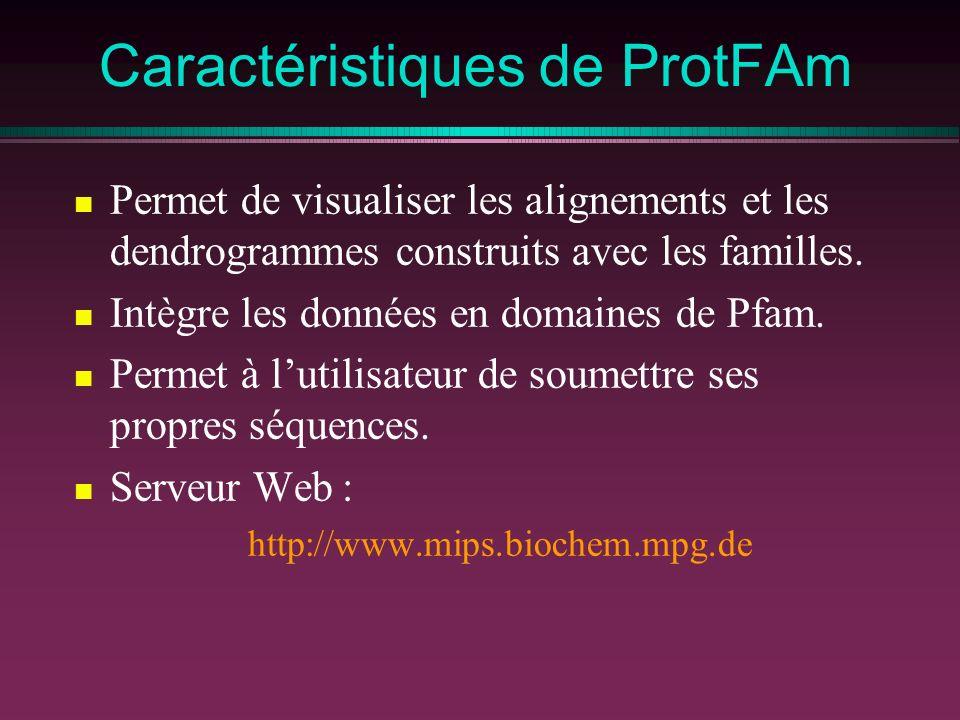 Caractéristiques de ProtFAm Permet de visualiser les alignements et les dendrogrammes construits avec les familles. Intègre les données en domaines de