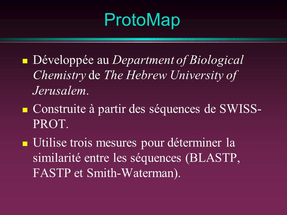 ProtoMap Développée au Department of Biological Chemistry de The Hebrew University of Jerusalem. Construite à partir des séquences de SWISS- PROT. Uti