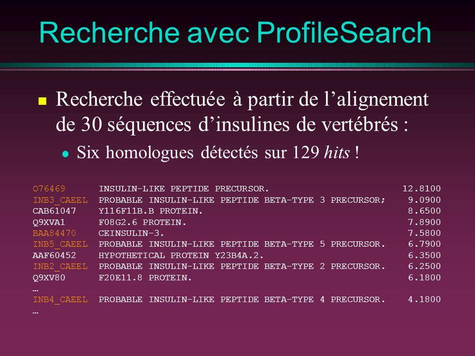 Recherche avec ProfileSearch O76469 INSULIN-LIKE PEPTIDE PRECURSOR. 12.8100 INB3_CAEEL PROBABLE INSULIN-LIKE PEPTIDE BETA-TYPE 3 PRECURSOR; 9.0900 CAB