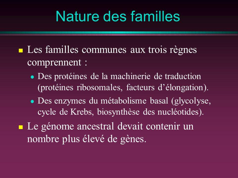Nature des familles Les familles communes aux trois règnes comprennent : Des protéines de la machinerie de traduction (protéines ribosomales, facteurs délongation).