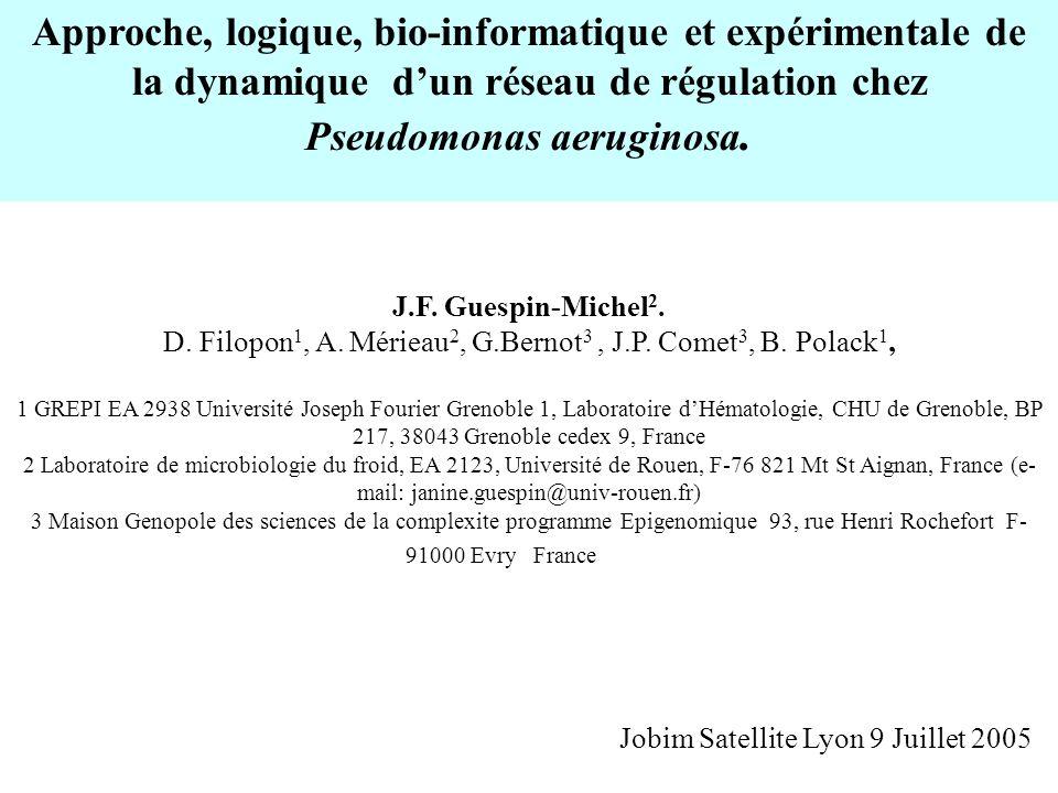 Approche, logique, bio-informatique et expérimentale de la dynamique dun réseau de régulation chez Pseudomonas aeruginosa. J.F. Guespin-Michel 2. D. F