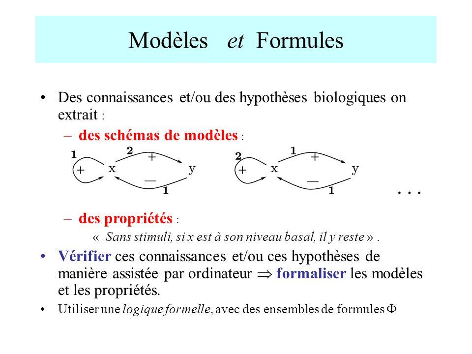 Modèles et Formules Des connaissances et/ou des hypothèses biologiques on extrait : –des schémas de modèles : –des propriétés : « Sans stimuli, si x e