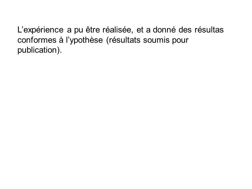 Lexpérience a pu être réalisée, et a donné des résultas conformes à lypothèse (résultats soumis pour publication).