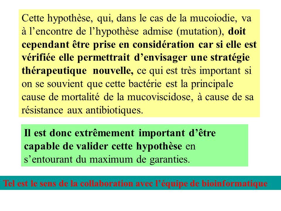 Cette hypothèse, qui, dans le cas de la mucoiodie, va à lencontre de lhypothèse admise (mutation), doit cependant être prise en considération car si e