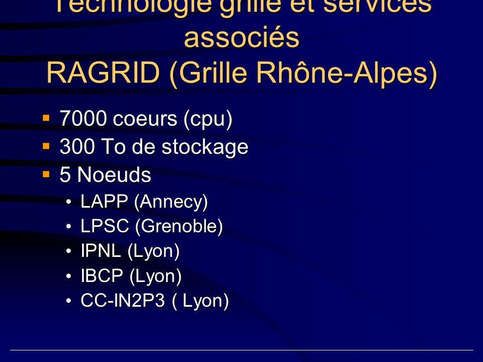 Technologie grille et services associés RAGRID (Grille Rhône-Alpes) 7000 coeurs (cpu) 7000 coeurs (cpu) 300 To de stockage 300 To de stockage 5 Noeuds 5 Noeuds LAPP (Annecy) LAPP (Annecy) LPSC (Grenoble) LPSC (Grenoble) IPNL (Lyon) IPNL (Lyon) IBCP (Lyon) IBCP (Lyon) CC-IN2P3 ( Lyon) CC-IN2P3 ( Lyon)