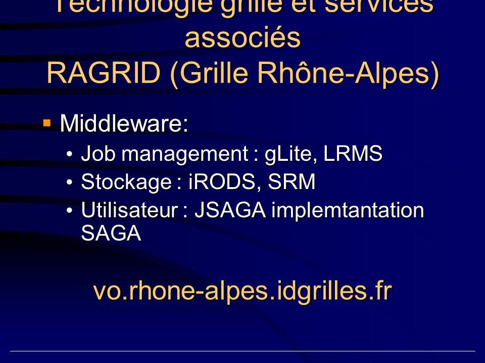 Technologie grille et services associés RAGRID (Grille Rhône-Alpes) Middleware: Middleware: Job management : gLite, LRMS Job management : gLite, LRMS Stockage : iRODS, SRM Stockage : iRODS, SRM Utilisateur : JSAGA implemtantation SAGA Utilisateur : JSAGA implemtantation SAGAvo.rhone-alpes.idgrilles.fr