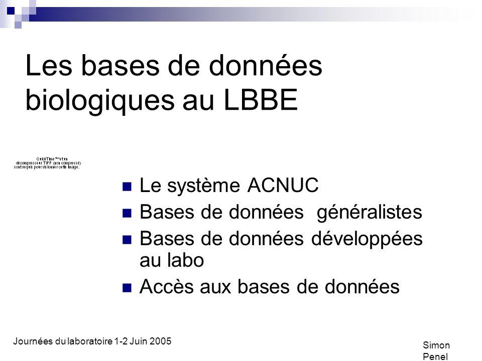 Les bases de données biologiques au LBBE Le système ACNUC Bases de données généralistes Bases de données développées au labo Accès aux bases de données Simon Penel Journées du laboratoire 1-2 Juin 2005