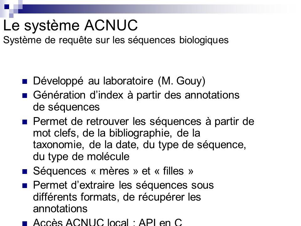 Le système ACNUC Système de requête sur les séquences biologiques Développé au laboratoire (M. Gouy) Génération dindex à partir des annotations de séq