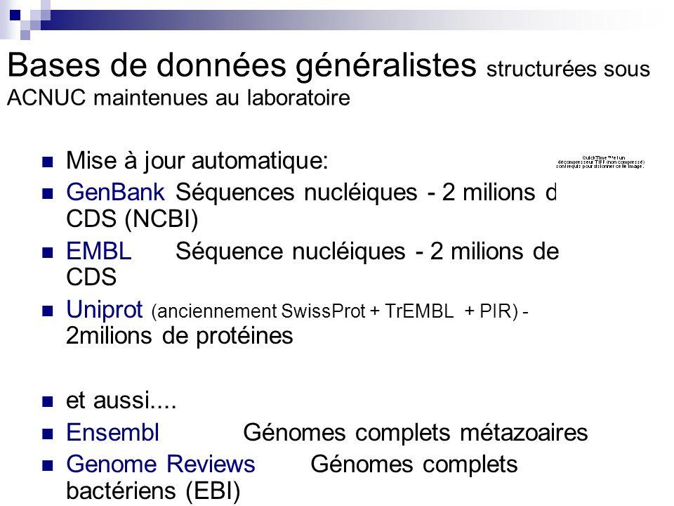Bases de données généralistes structurées sous ACNUC maintenues au laboratoire Mise à jour automatique: GenBank Séquences nucléiques - 2 milions de CDS (NCBI) EMBL Séquence nucléiques - 2 milions de CDS Uniprot (anciennement SwissProt + TrEMBL + PIR) - 2milions de protéines et aussi....