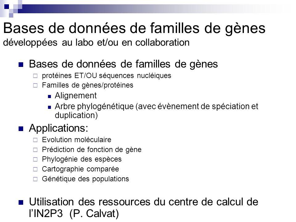 Bases de données de familles de gènes développées au labo et/ou en collaboration Bases de données de familles de gènes protéines ET/OU séquences nucléiques Familles de gènes/protéines Alignement Arbre phylogénétique (avec évènement de spéciation et duplication) Applications: Evolution moléculaire Prédiction de fonction de gène Phylogénie des espèces Cartographie comparée Génétique des populations Utilisation des ressources du centre de calcul de lIN2P3 (P.