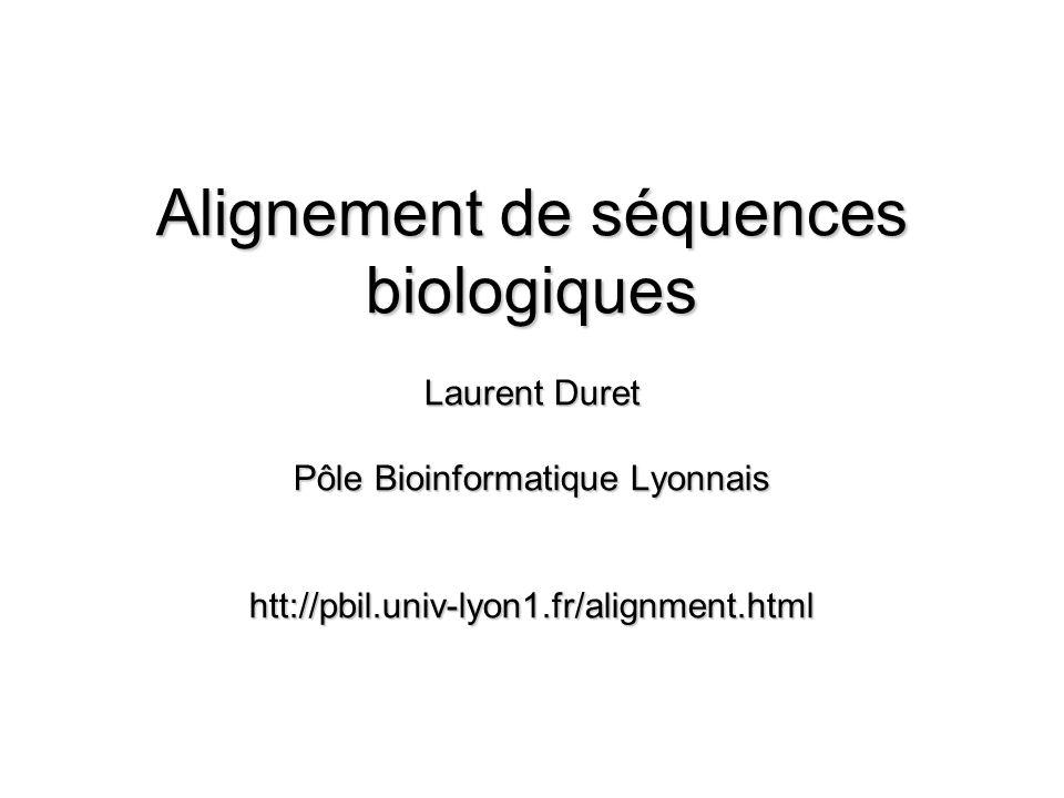Alignement de séquences biologiques Laurent Duret Pôle Bioinformatique Lyonnais htt://pbil.univ-lyon1.fr/alignment.html