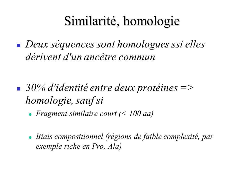 Similarité, homologie Deux séquences sont homologues ssi elles dérivent d un ancêtre commun 30% d identité entre deux protéines => homologie, sauf si Fragment similaire court (< 100 aa) Biais compositionnel (régions de faible complexité, par exemple riche en Pro, Ala)