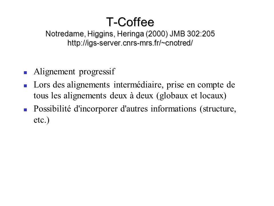 T-Coffee Notredame, Higgins, Heringa (2000) JMB 302:205 http://igs-server.cnrs-mrs.fr/~cnotred/ Alignement progressif Lors des alignements intermédiai